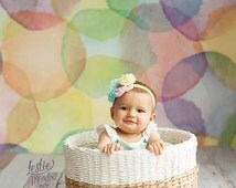 6ft x 6ft Childs Photography Backdrop - Rainbow Watercolor Dots Photo Back Drop - Colorful Painted Backdrop - Item 2042