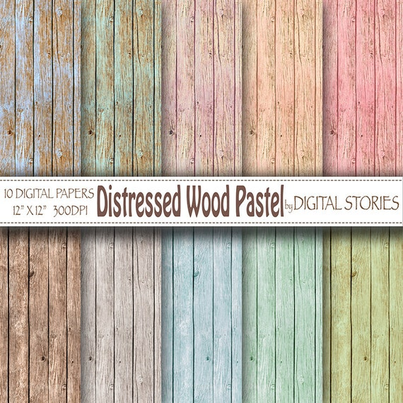 Wood digital paper: DISTRESSED WOOD PASTEL texture