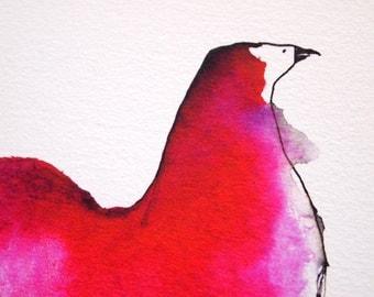 Giclee Print of Pink Bird A4