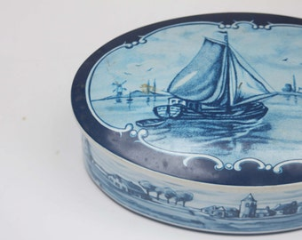 Vintage Blue and White Tin / Made in West Germany