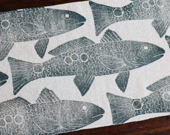 bath rug, bath mat REDFISH  fish cotton chenille rug
