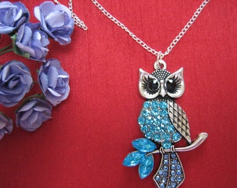 Owl Necklace Owl Crystal Charm Necklace Blue Crystals