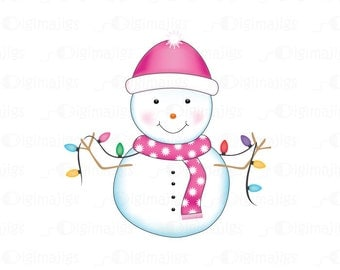 Cute Snowman Clipart for Commercial and Personal Use. Scrapbooking, Invitations, Card Design, Christmas Ornaments, Web Design and more.