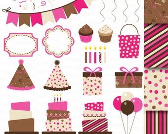 Raspberry Cake Clipart, Card Design, Bunting Clipart, Invitation Kit Clipart, Digital Papers, Scrapbooking, Balloons, Confetti, Candles