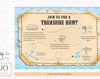 Treasure Hunt / Scavenger Hunt Themed Treasure Map Invitation / Treasure Hunt Party