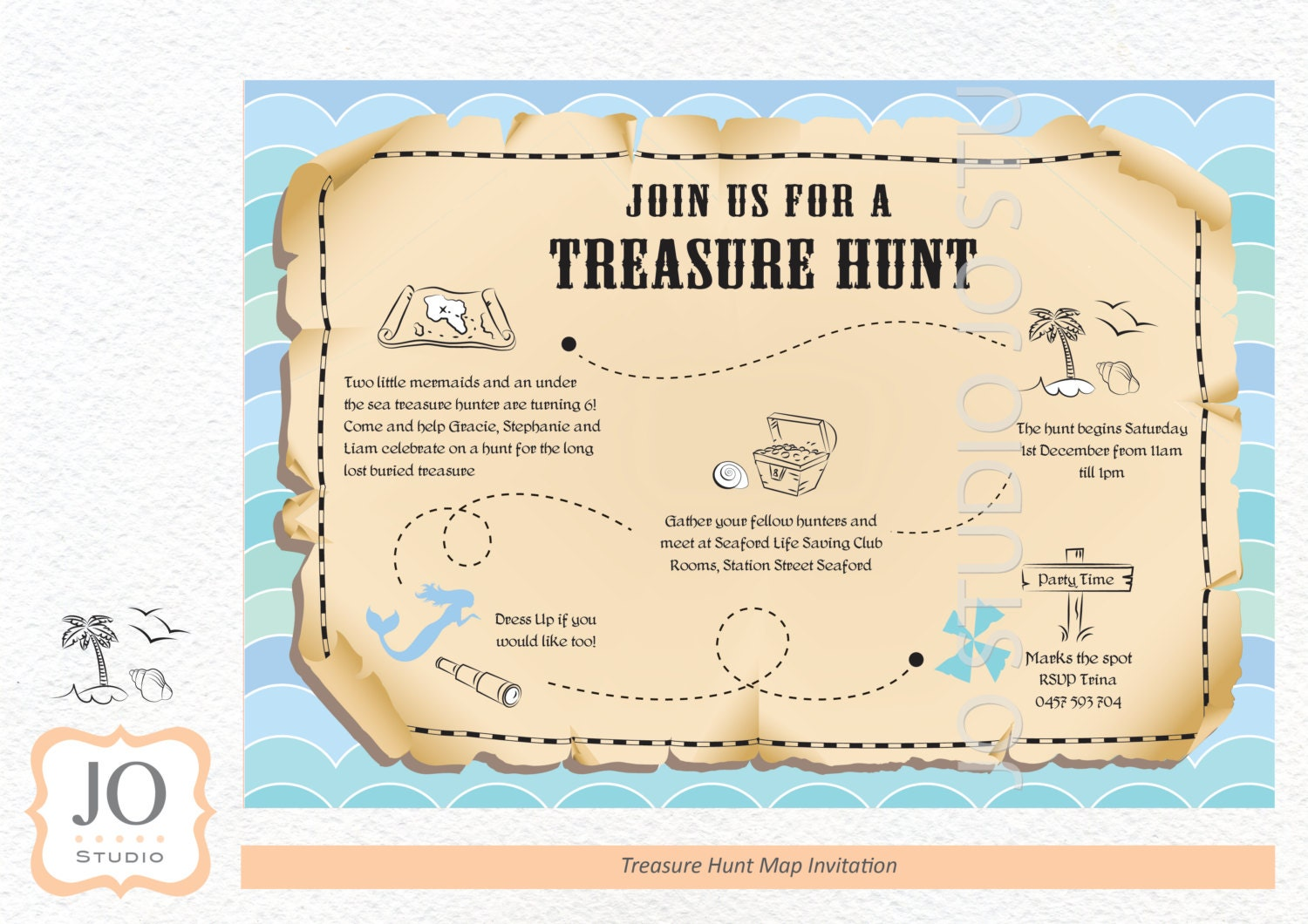 Treasure Hunt Scavenger Hunt Themed Treasure Map Invitation