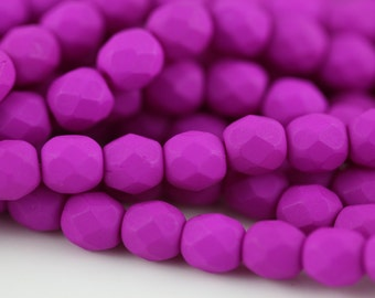25 Neon Purple, 6mm Faceted Round Czech Glass Fire Polished Beads FP-6M-18