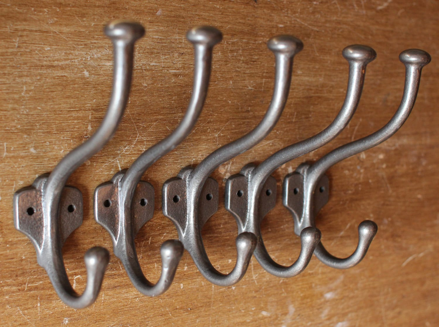 5 x antique coat hooks wall decorative entryway cast iron