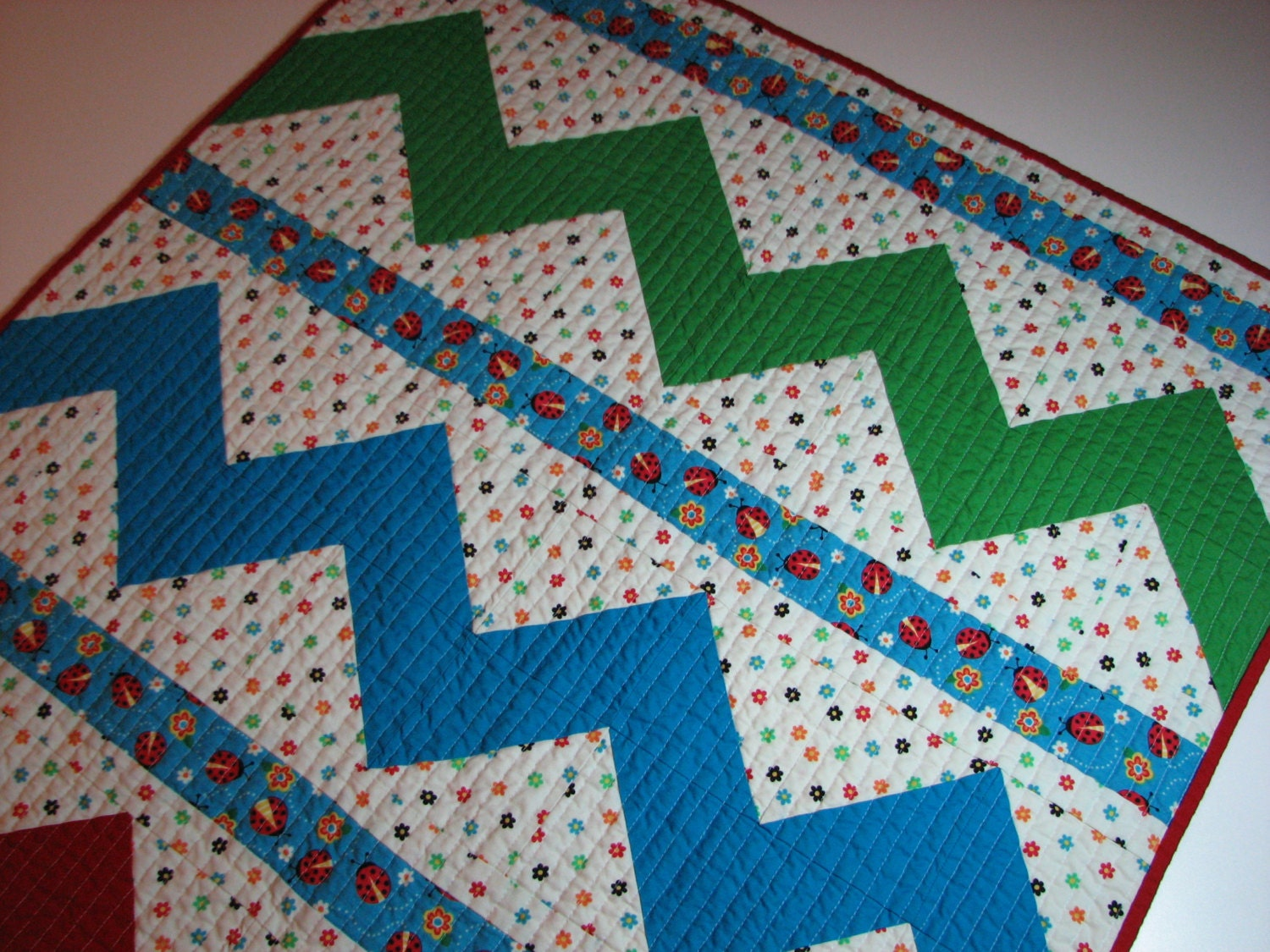 Baby Quilt Modern Chevron Baby Quilt Red and Blue by ...