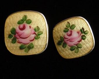 Enamel and Sterling Silver Vintage Flower Earrings