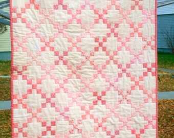 Pretty Pink Nine-Patch Baby Quilt