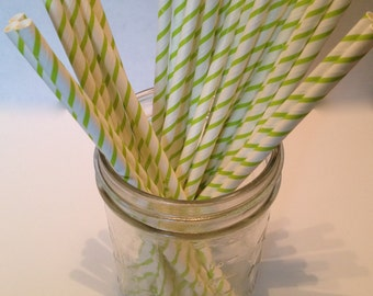 Light Green and White Stripe Paper Straws