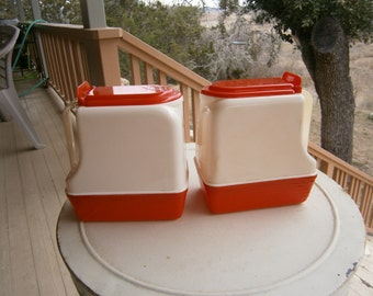 Kitschy Pitchers Hard Plastic 1950s, Good for Movie/TV Sets, Vintage Red and White