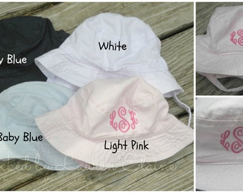 Personalized Infant to small toddler bucket hat with velcro strap