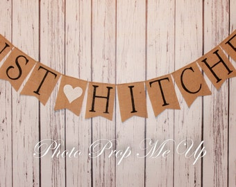 Just Hitched Wedding Burlap Banner Photography Prop