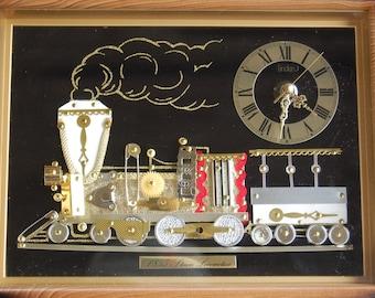 vintage railroad train engine metal pins and wheels framed railroad train clock circa 1970u0027s