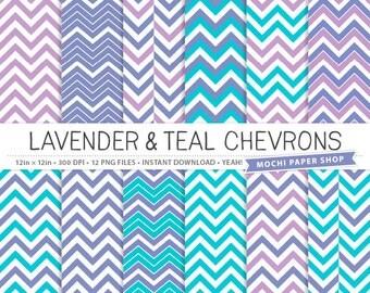 Lavender & Teal Chevron Digital Paper, Lavender Digital Patterns, Teal Background Texture, Instant Download, Chevron PNG Files
