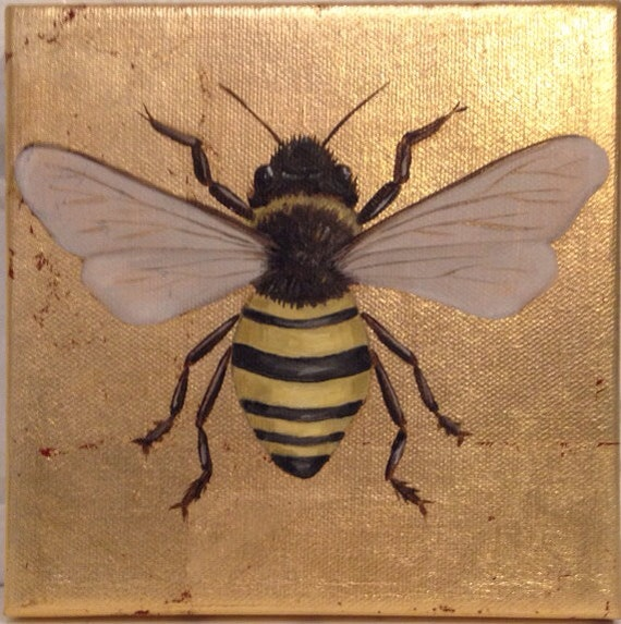 Items similar to gold leaf canvas with oil painting of bee for Gold paintings on canvas