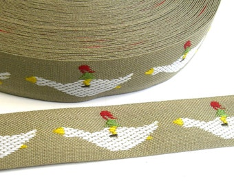 "1 m Woven Ribbon ""Nils Holgerson flying with goose"" 20 mm w 100 % cotton from Sweden"