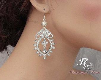 Crystal rhinestone chandelier Bridal earrings, statement earrings, chandelier wedding earrings, vintage style wedding jewelry 1123