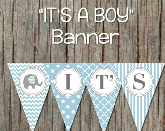 It's a Boy Printable Baby Shower Banner Powder Blue Grey Pennant Banner INSTANT DOWNLOAD DIY 016