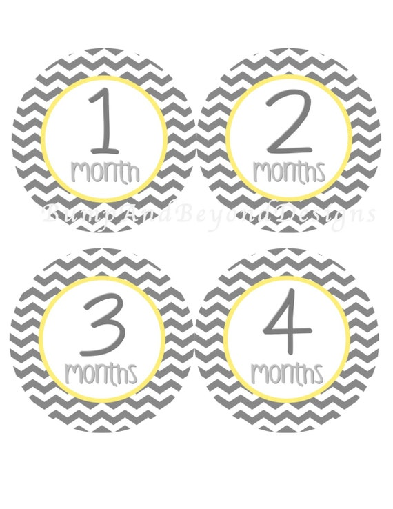 18 Month Stickers: Monthly Baby Stickers INSTANT DOWNLOAD Printable Yellow Grey