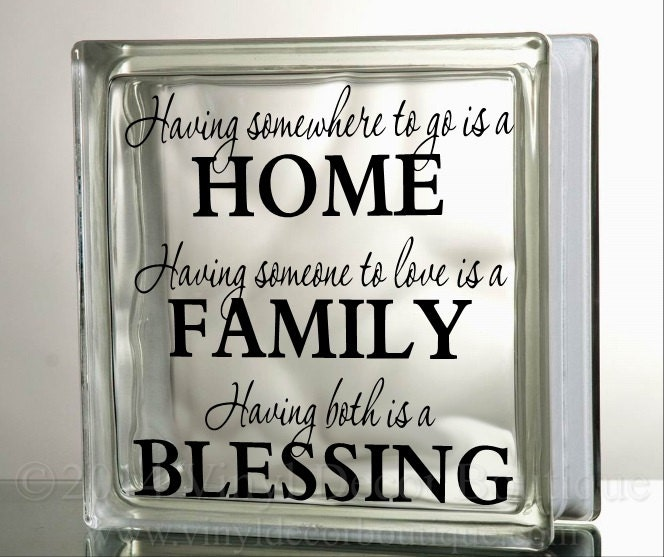 Family Home Blessings Glass Block Decal Tile By