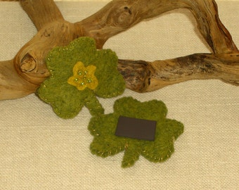 St. Patrick's Day Wool Felt Lucky Shamrock Magnet - One Refrigerator Magnet* Ready to ship