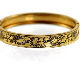 Gold Filled Embossed Bangle Bracelet