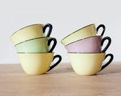 Set of 6 beautiful retro french coffee cups Moulin des Loups - Pastel colors and black porcelain - Mid century