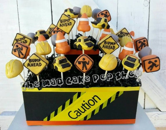Construction Cake Pops - Construction Birthday Party - Edible Favor - Construction Party - Under Construction Baby Shower