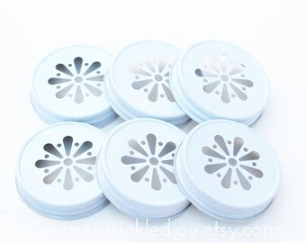 6 White Mason Jar Lids, Daisy Flower Cut, with optional Pulp Liners, Made in the USA