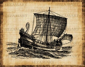 INSTANT DOWNLOAD - Vintage ship (2) - Digital Collage Sheet, Scrapbooking, Burlap Fabric Transfer to Tea Towels, Download and Print