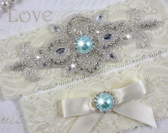 MADRID II - Aqua Blue Wedding Garter Set, Lace Garter, Rhinestone Crystal Bridal Garters, Something Blue