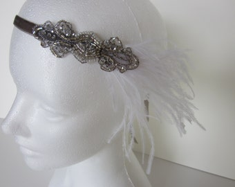 White 1920s Headband, white flapper Headband SILVER beaded Great Gatsby Stretch Elastic Velvet Black Feather Pearls Ostrich Gray Beading