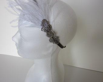 1920s Gatsby Bridal Wedding Headband White Feather  Pearls Silver Gray Beading