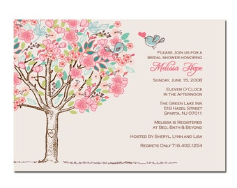 Tree with Love Birds Bridal Shower Invitation DIY PRINTABLE Digital File or Print (extra) Tree Bridal Shower Invitation Love Birds Wedding