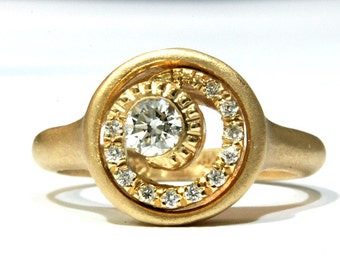 Vintage Engagement Ring 14k in Yellow Gold And  Diamonds,Antique Engagement  Ring , Art Deco,Wedding