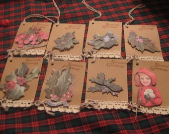 Hand Made Holiday Gift Tags, Christmas Gift Tags