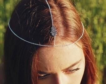 Silver Hair Chain, Head Chain, Headband, Hair Piece