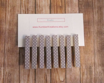 wooden clothespins, set of 8 - Gray with White Polka Dot print on wooden pegs, Easter