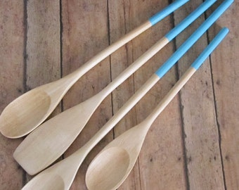 Set of Four Wooden Cooking Spoons -- Teal -- -- Teal Spoon, Valentine's Day, Gift -- READY TO SHIP