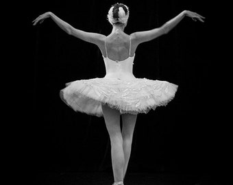 Ballerina Photo in Black & White, Russian Dancer Performing the Dying Swan in St Petersburg, Russia. Fine Art Print A4 (210mm x 297mm) #2