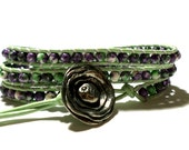 Purple and Green Wrap Bracelet and Artisan Flower Button - Green and Purple Wrap Bracelet - Boho Chic Leather Wrap - Staggs Lane Jewelry