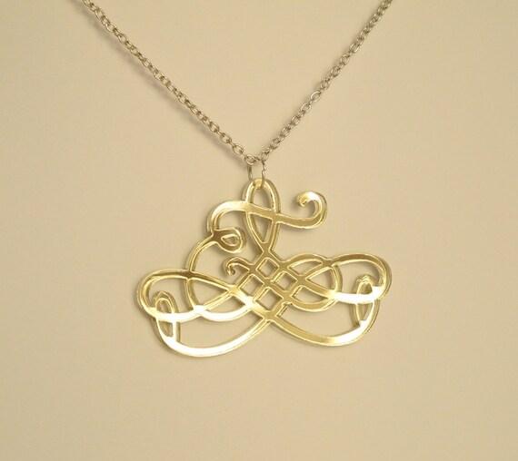 Arabesque Necklace Gold Mirror Necklace With Baroque Design