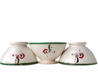 Set of 3 French vintage cafe au lait bowls. Hot chocolate bowl. French breakfast.  Stamped DIGOIN for Casino market. French publicity bowls