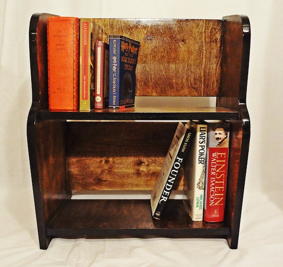 Dark solid wood small bookcase by romanosstudio on etsy