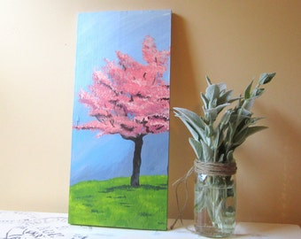 Spring Decor - Cherry Blossom Tree - Pink Tree - Spring Wall Art - Original Painting - Colorful Landscape - Japanese Garden
