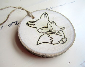 Woodland Baby Shower - Baby's First Christmas Ornament - Fox Ornament - Woodland Ornament -  Wood Slice Ornament