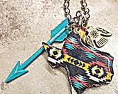 Texas Tribal print Necklace!
